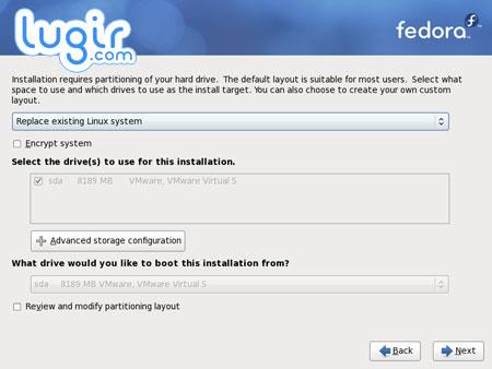 安装 Fedora,磁盘分区[图]