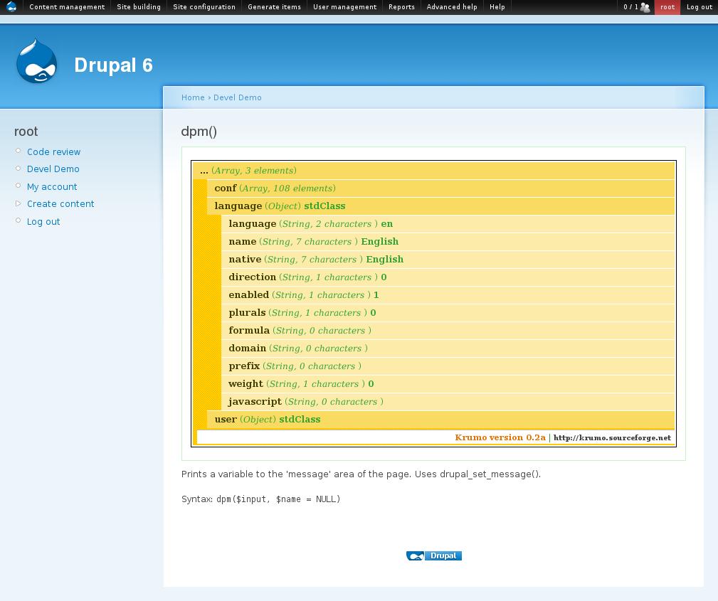Devel dpm() 函数使用示例