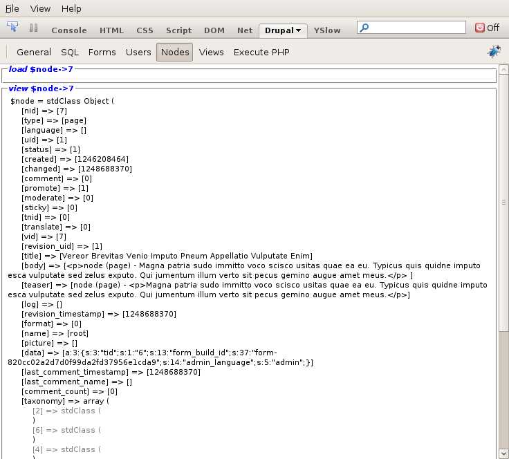Drupal for Firebug 节点面板